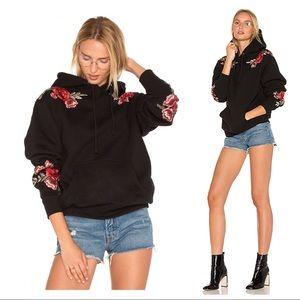 EUC Paige Denim Floral Appliqué Hoodie One Size